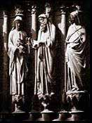 Earthlore Gothic Architecture: Jamb Statuary within the West portal at Rheims cathedral, France.